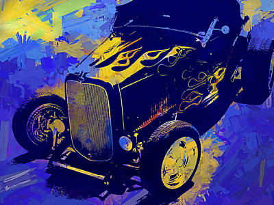 Digital Art - Flamed 1932 Ford Roadster Hot Rod Pop Blue by David King