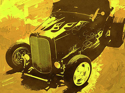 Digital Art - Flamed 1932 Ford Roadster Hot Rod Pop Yellow by David King