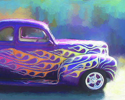 Digital Art - Flamed 1940 Ford by David King