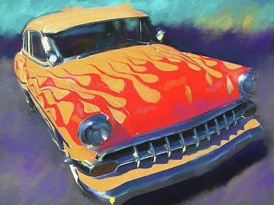Digital Art - Flamed Chevy by David King