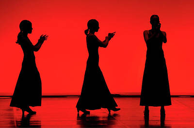 Flamenco Red An Black Spanish Passion For Dance And Rithm Art Print by Pedro Cardona
