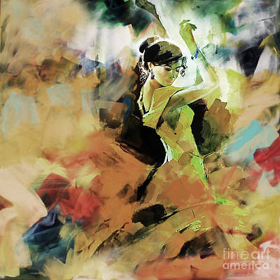 Art Print featuring the painting Flamenco 56y3 by Gull G