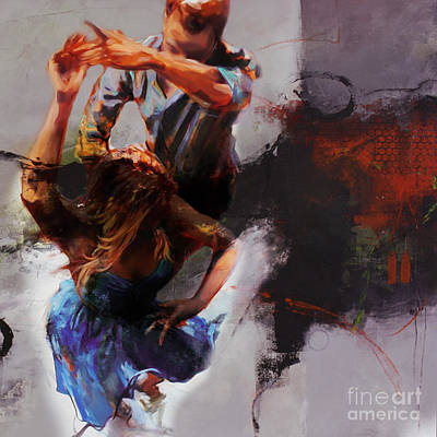 Painting - Flamenco Couple Dance Art 657 by Gull G