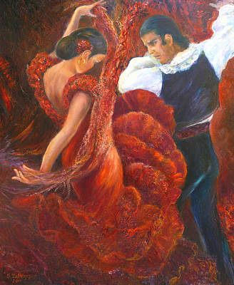 Painting - Flamenco Couple by Sylva Zalmanson