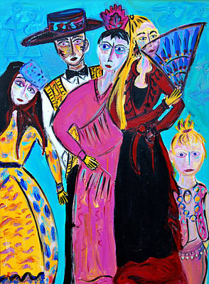 Painting - Flamenco Dance Troupe by Maggis Art