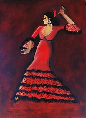 On Cavas Painting - Flamenco Dancer by Janine Antulov