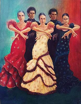 Painting - Flamenco Dancers 5 by Sylva Zalmanson