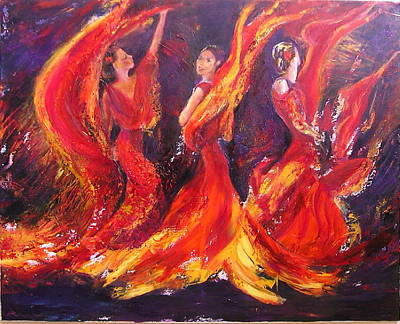 Painting - Flamenco Fire Dance by Sylva Zalmanson