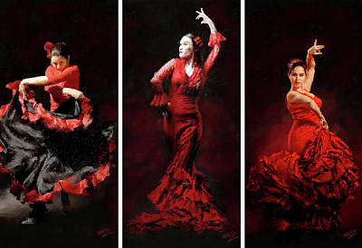 Digital Art - Flamenco Frills Triptych by James Shepherd