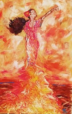 Flamenco Mixed Media - Flamenco In Orange  by Nikki Frazier