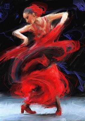 Flamenco In Red Art Print by H James Hoff