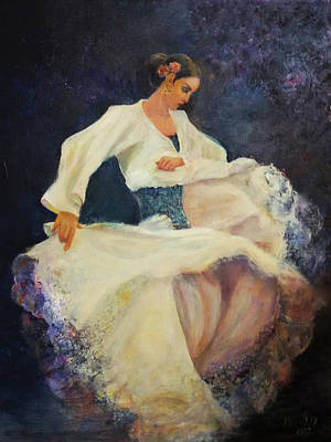 Painting - Flamenco In White by Sylva Zalmanson