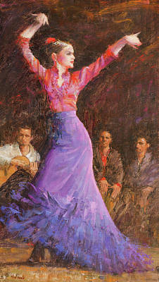 Wall Art - Painting - Flamenco by Miguel Malagon