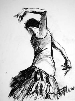 Modern Abstract Art Drawing - Flamenco Sketch 2 by Mona Edulesco