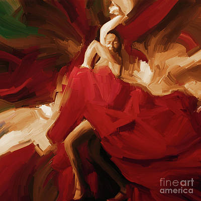 Art Print featuring the painting Flamenco Spanish Dance Painting 01 by Gull G