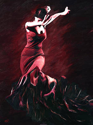 Flamenco Swirl Art Print
