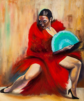Painting - Flamenco With A Turquoise Fan by Jenny anne Morrison