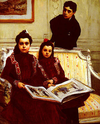 Flameng Francois Family Portrait Of A Boy And His Two Sisters Art Print