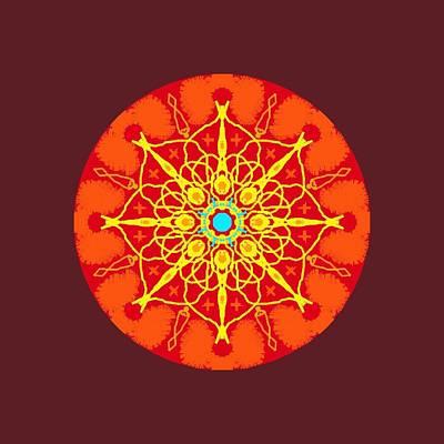Wall Art - Digital Art - Flames Mandala by Helen Krummenacker