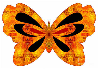 Digital Art - Flames Of Imagination And Abstract Butterflies By Omashte by Omaste Witkowski