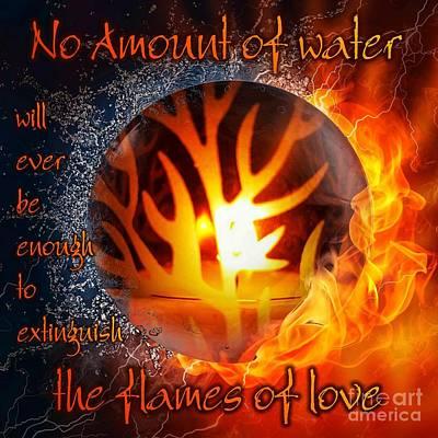 Digital Art - Flames Of Love by Rachel Hannah