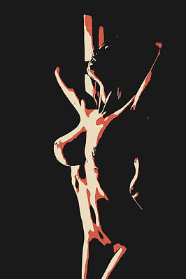 Submissive Women Art Drawing - Flames Of Passion - Sexy Girl In Dark Room by Casemiro