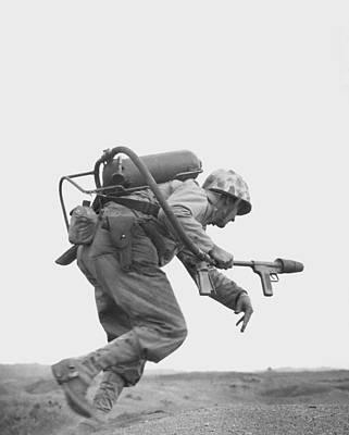 Iwo Jima Photograph - Flamethrower Operator - Battle Of Iwo Jima by War Is Hell Store