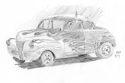 Drawing - Flamed Ford by David King