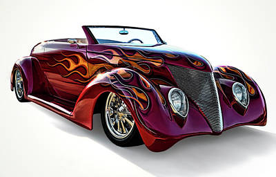 Flaming Digital Art - Flamin' Red Roadster by Douglas Pittman