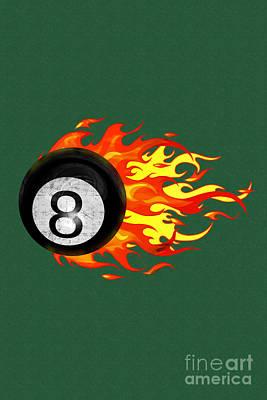 Billiards Hall Digital Art - Flaming 8 Ball by Chris MacDonald