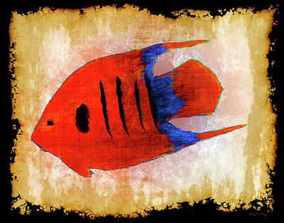 Hawaii Sea Turtle Digital Art - Flaming Angel Fish by Ken Figurski