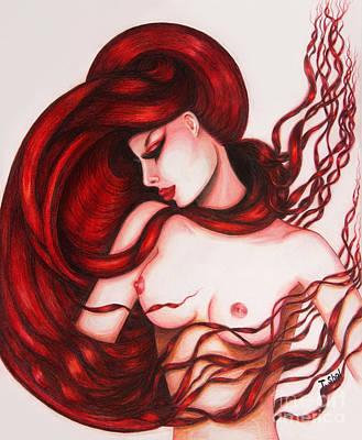 Drawing - Flaming Beauty 3 by Tara Shalton
