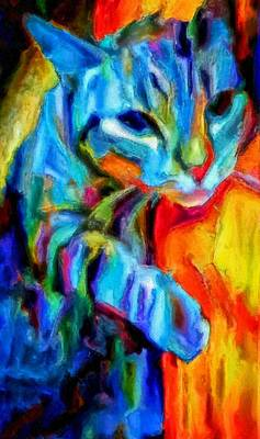 Painting - Flaming Blue And Orange Kitty Cat Tiger Resting Gently From The Prowl by MendyZ