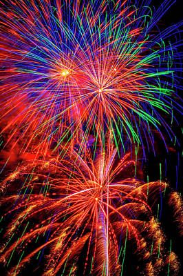 Photograph - Flaming Bright Fireworks by Garry Gay