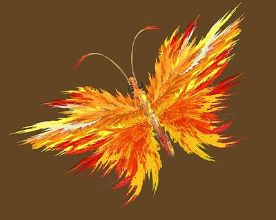 Apophysis Mixed Media - Flaming Butterfly by Edelberto Cabrera