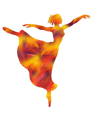 Painting - Flaming Dance Ballerina Silhouette by Irina Sztukowski