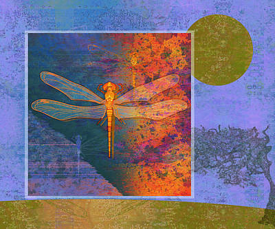 Creepy Digital Art - Flaming Dragonfly by Mary Ogle