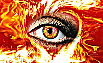 Mixed Media - Flaming Eye Gothic Fantasy Art by Elizavella Bowers