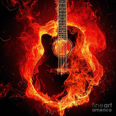 Photograph - Flaming Guitar Square by Edward Fielding