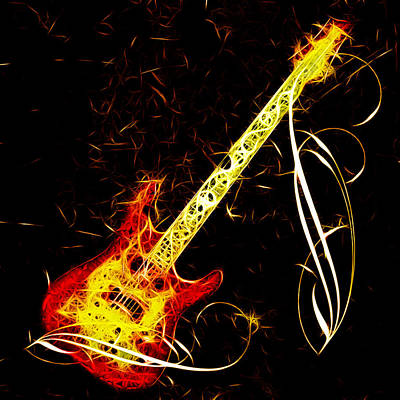 Photograph - Flaming Guitar by Steve McKinzie
