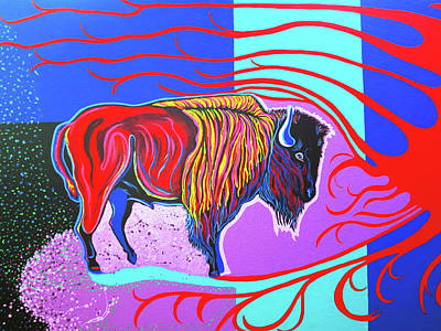 Flaming Heart Buffalo Art Print by Debbie Chamberlin