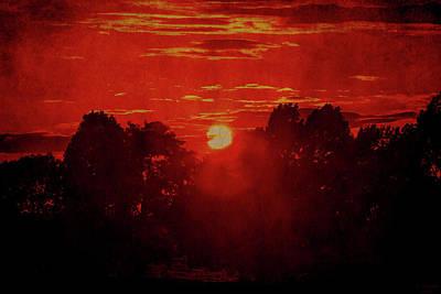 Digital Art - Flaming Hot Sunset by David Stasiak