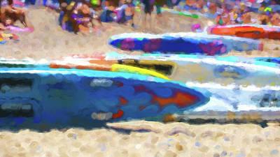 Digital Art - Flaming Kayak Watercolor 1 by Scott Campbell