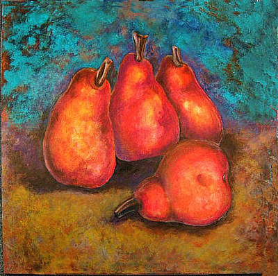 Painting - Flaming Pears by Rae Chichilnitsky
