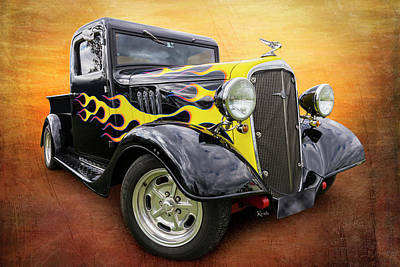 Chev Pickup Photograph - Flaming Pickup by Keith Hawley