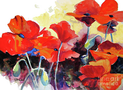 Art Print featuring the painting Flaming Poppies by Kathy Braud