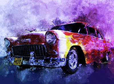 Digital Art - Flaming Red Bow Tie Fifty-five Chevy by Chas Sinklier