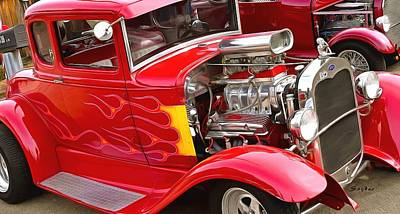 Photograph - Flaming Red Hot Hot Rod by Floyd Snyder