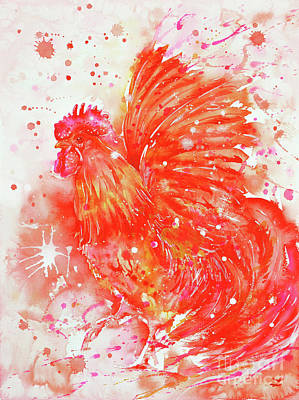 Painting - Flaming Rooster by Zaira Dzhaubaeva