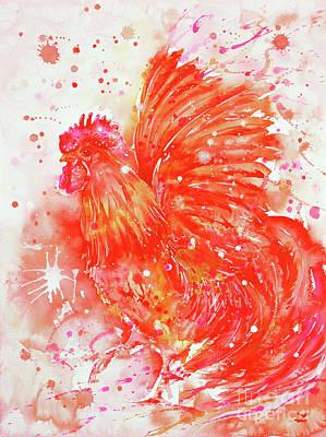 Painting - Flaming Rooster by Zaira Dzhaubaeva